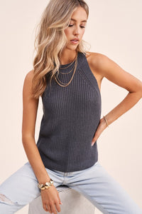 Knit Halter Tank Gray