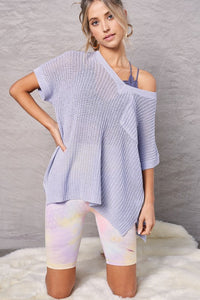 Baby Blue Short Sleeve Sweater