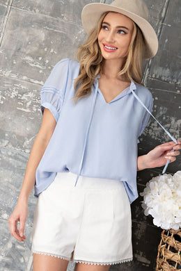 Periwinkle Tie Front Blouse