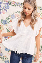 Load image into Gallery viewer, Button Down White Ruffle Top