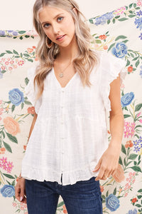 Button Down White Ruffle Top