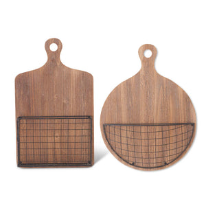Wall Hanging Wooden Cutting Boards w/Wire Basket