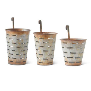Metal Hanging Olive Buckets (3 Sizes)