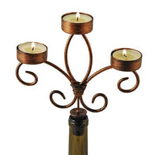Load image into Gallery viewer, Brushed Copper Wine Bottle Candelabra