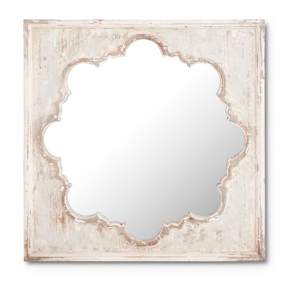 27.25 Inch Square Whitewashed Mirror w/Quatrafoil Insert