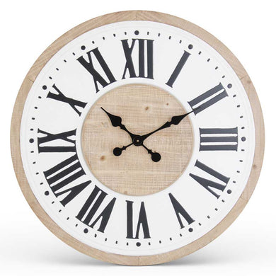 Wood & Enamel Roman Numeral Wall Clock