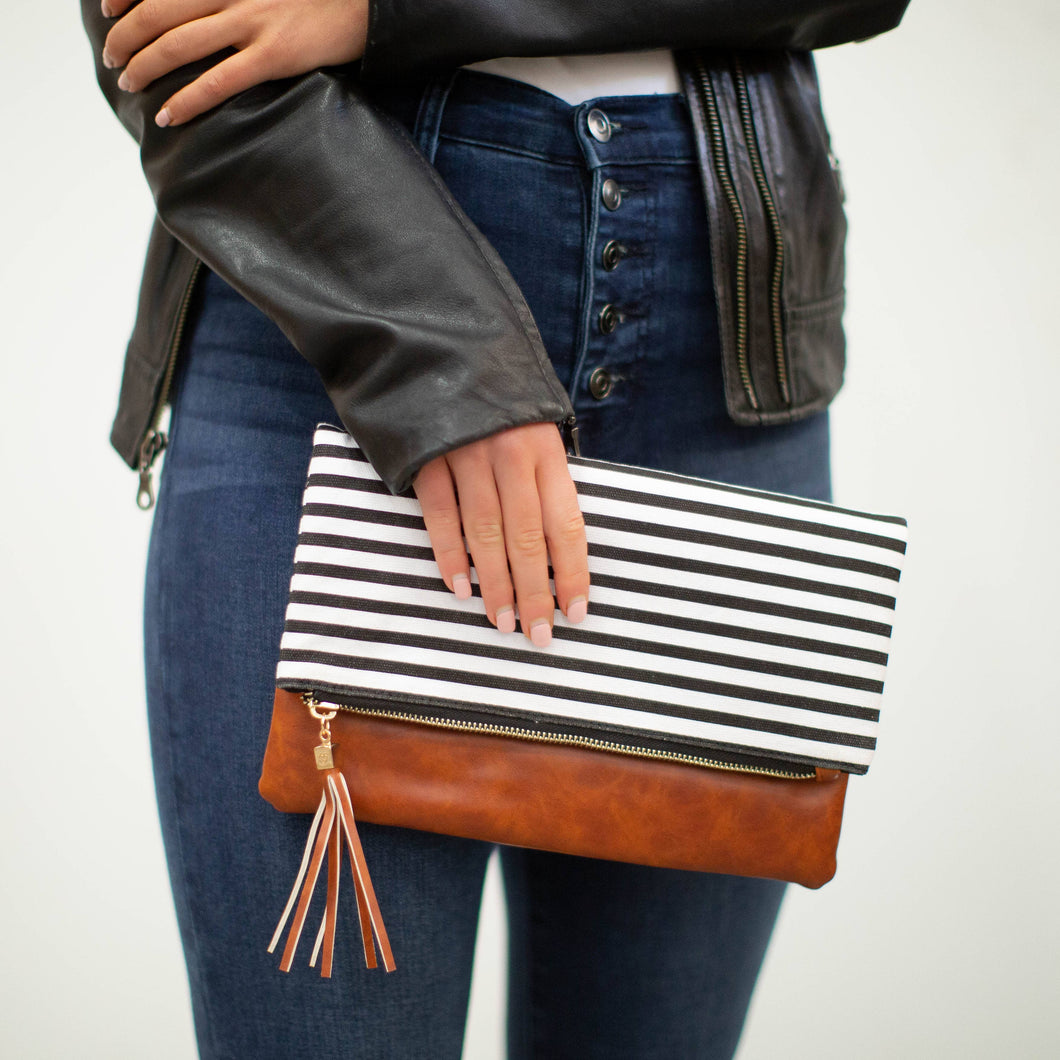 Fold Over Clutch - Classic Black & White stripe