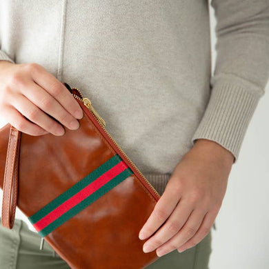 Red/Green Stripe Zipper Clutch