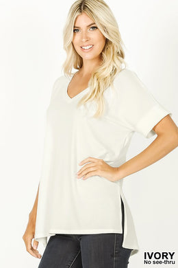 Cuff Sleeve Soft V Neck (2 Colors)