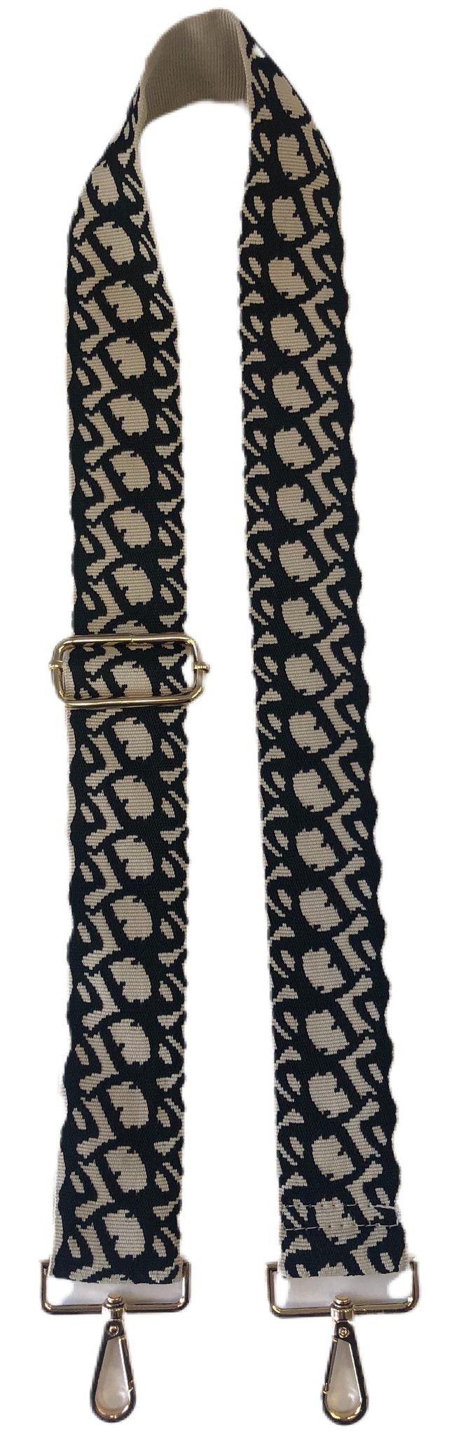 Black/Cream Wave Bag Strap w/Gold Hardware