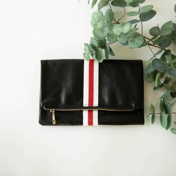 Black Stripe Foldover Clutch