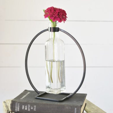 Metal and Glass Vase Stand