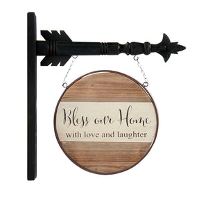 "Metal and Wood Frame ""Bless Our Home"" Arrow Replacement"