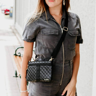 Black Quilted Convertible Bag