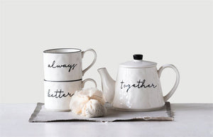 18 oz.Stoneware Stackable Teapot & (2) 8 oz. Mugs, White