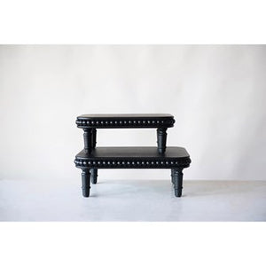 Black Beaded Wood Risers