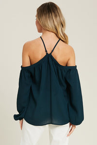 Teal Off The Shoulder Top With Strap