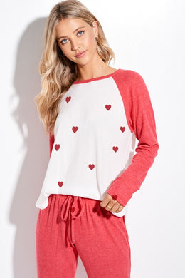 Red Mini Heart Raglan Lounge Wear Set