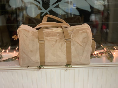 Tan Faux Fur Weekender Bag