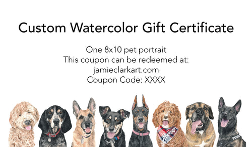 8x10 Custom Watercolor Portrait Gift Certificate (Two Pets)