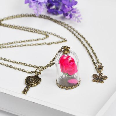 Beauty and the Beast Rose Necklace