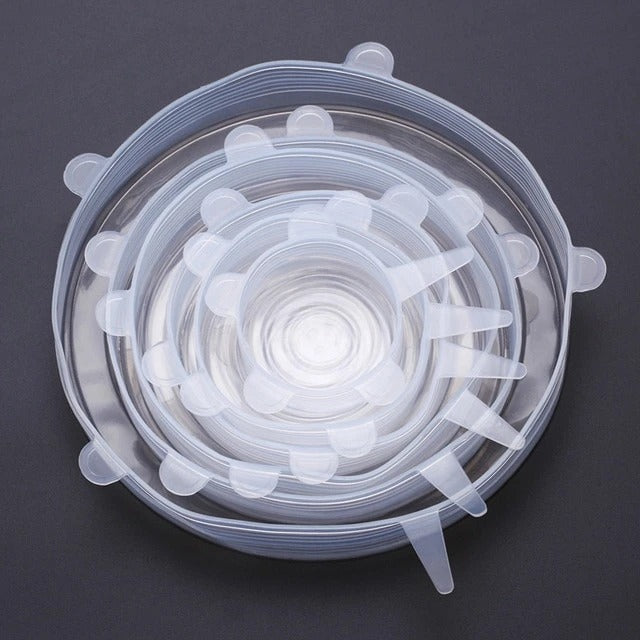 Set of Six Transparent Silicone Food Cover Stretch Lids