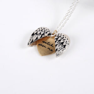 """Watch Over Me"" Wing Heart Necklace"
