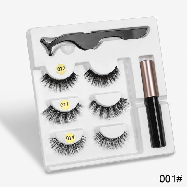 Magnetic Eyelashes 3 Pair Set With Liquid Eyeliner & Tweezer | Waterproof Long-Lasting