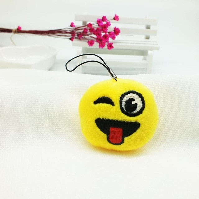 Winking Face With Tongue Emoji Plush Keychain