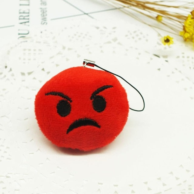 Red Angry Face Emoji Plush Keychain