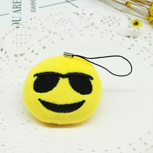 Smiling Face With Sunglasses Emoji Plush Keychain