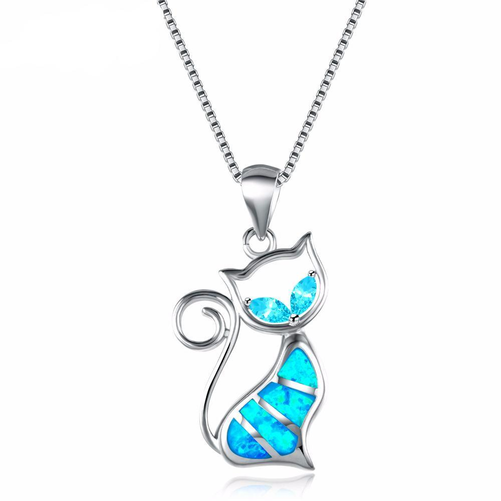 Blue Opal Cat Women Necklace