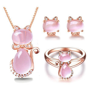 Cute Rose Gold Cat Necklace, Earrings and Ring Set
