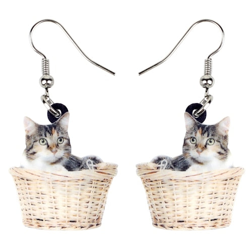 Cute Basket Kitten Earrings
