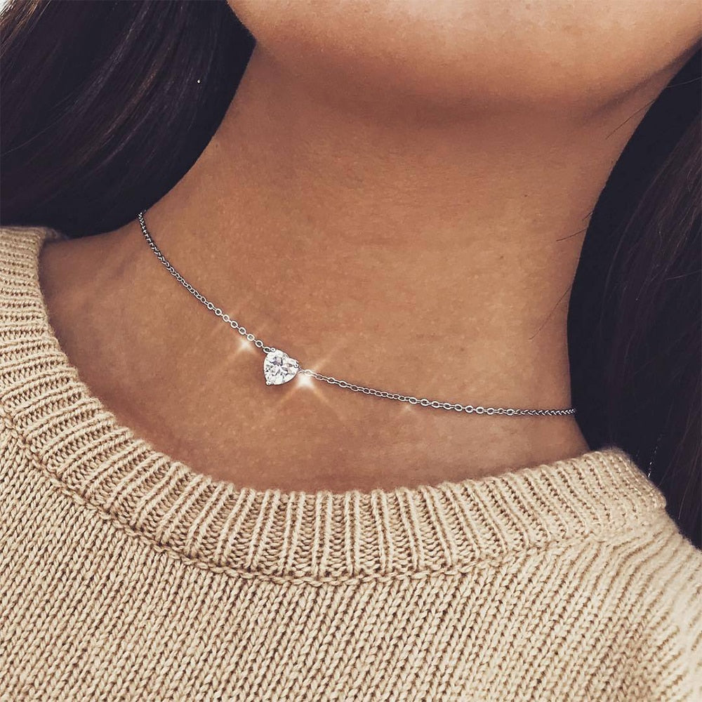 Crystal Heart Choker Necklace