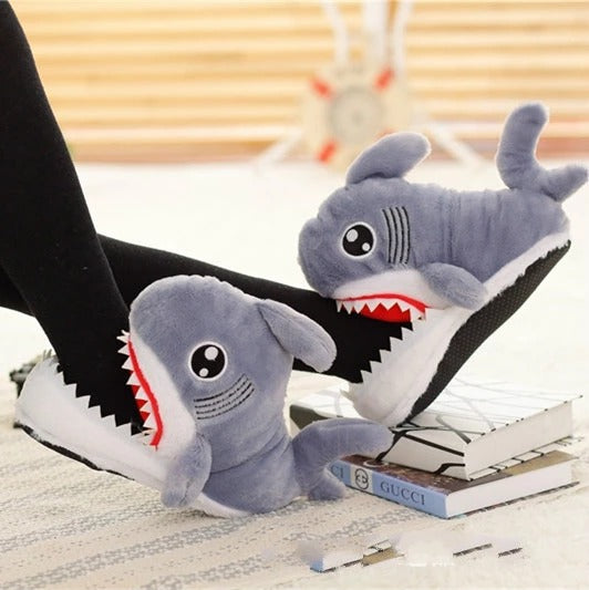 Cute Shark Shaped Furry Winter Slippers