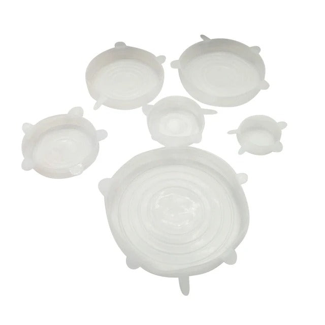 Set of Six Reusable Food & Container Silicone Eco-Friendly Lids