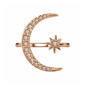 2019 New Fashion Ring Moon & Star Dazzling Open Finger Ring  For Women Girls Jewelry Pure Wedding Engagement Jewelry Gifts