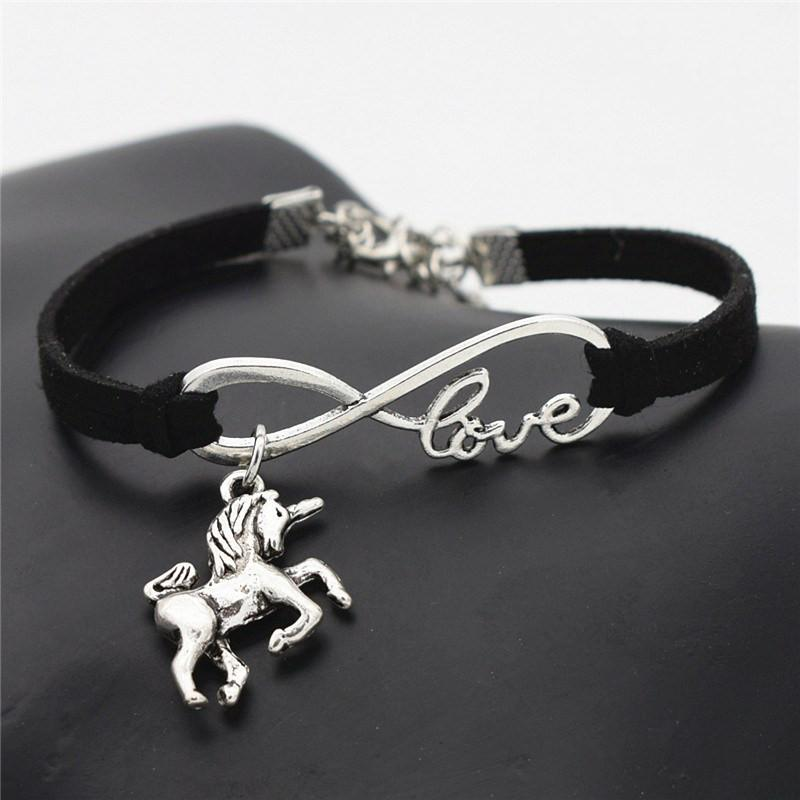 Vintage Leather Unicorn Bracelet