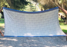 Beige + Blue Throw Blanket