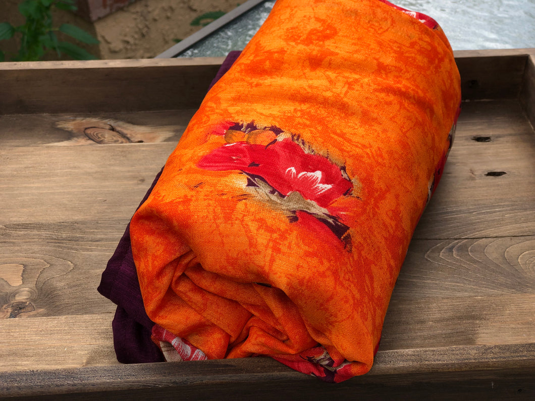 Orange Floral Sa.ree Blanket