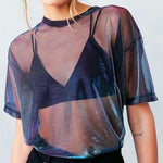 Iridescent Mesh Top