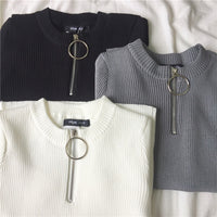 O-Ring Zipper Knit Shirt