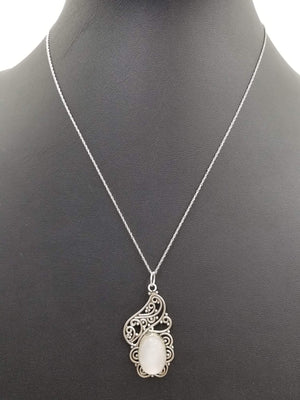 Past Works. Whimsical pendant necklace, Sterling silver, selenite. SOLD