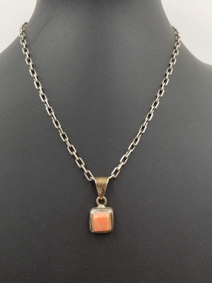 Sterling silver, pink coral pendant necklace