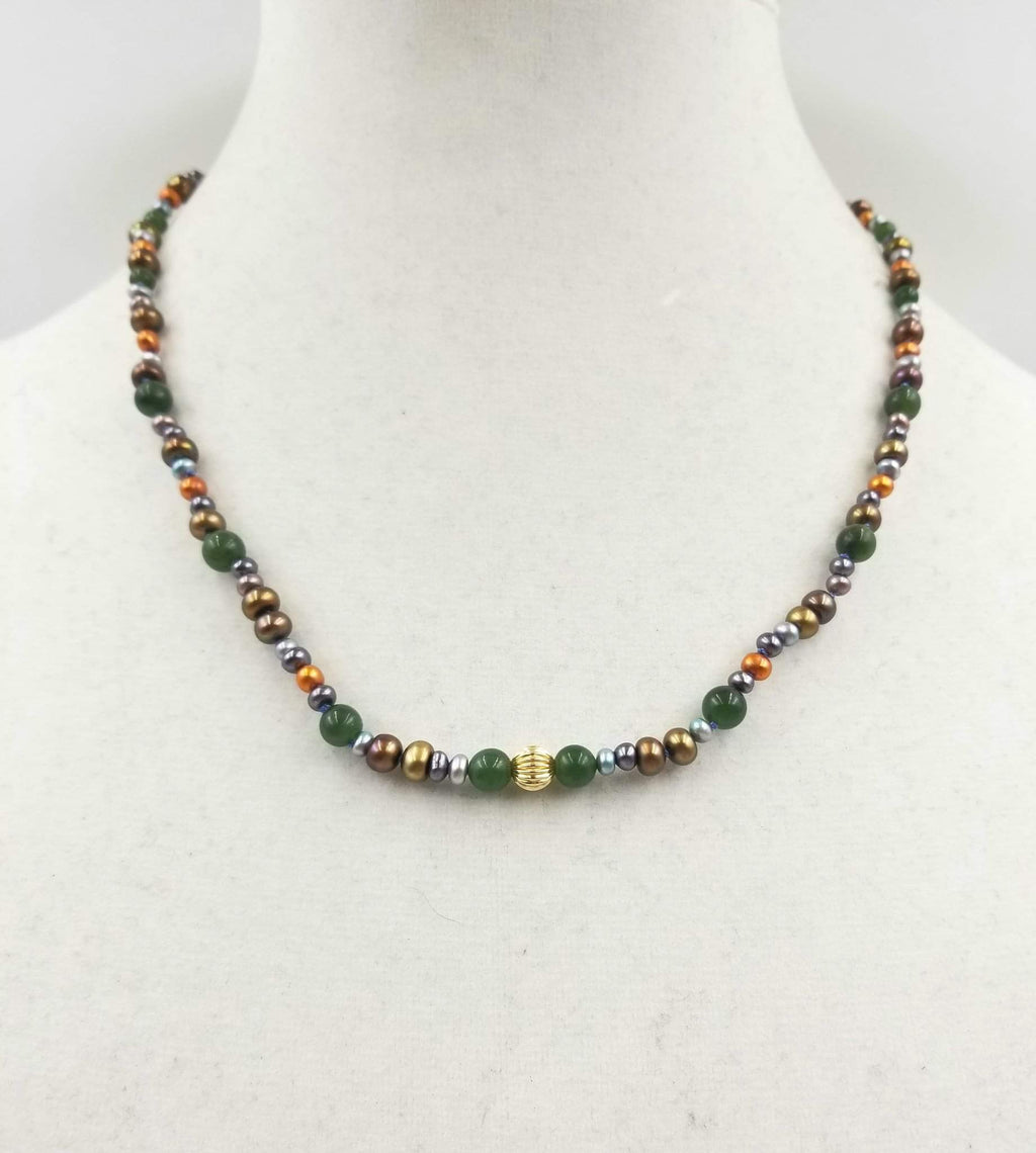 Multi-colored Pearl, nephrite, 14KYG, silk, NZ greenstone accent, necklace.