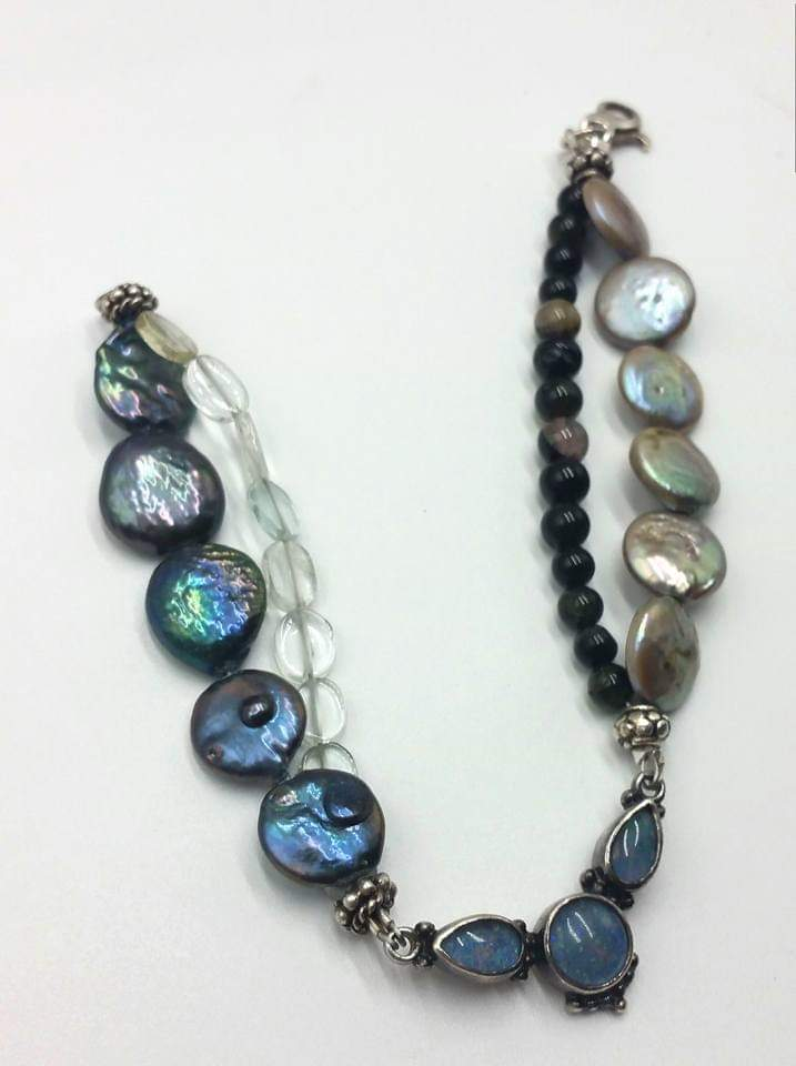 "Past Work - Pearl, aquamarine, tourmaline, 2-strand bracelet with glass opal. 8.5"" length. Sold"
