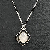 Sterling silver, rose quartz, pendant necklace.