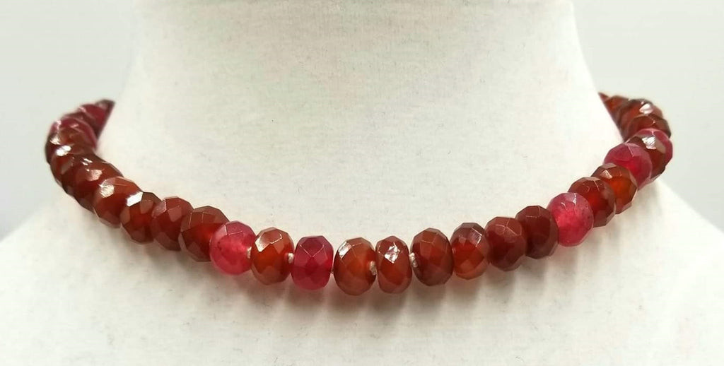 "Vintage gold wash silver, ultra-faceted carnelian, necklace on white silk. 15"" Choker length."