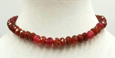 Vintage gold wash silver, ultra-faceted carnelian, necklace on white silk. 15